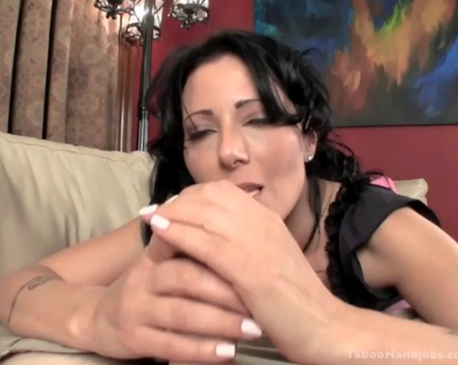 Taboo Handjobs - Bored bubble gum chewing girl gets frisky with her step-daddy