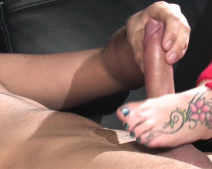 UKFootSluts - Emma Louise thick cock footjob with her pretty feet