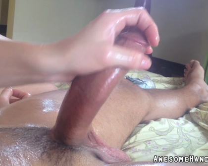 AwesomeHandjobs E22 Deepthroat Redhead Helps Give Four Hand Cock Massage