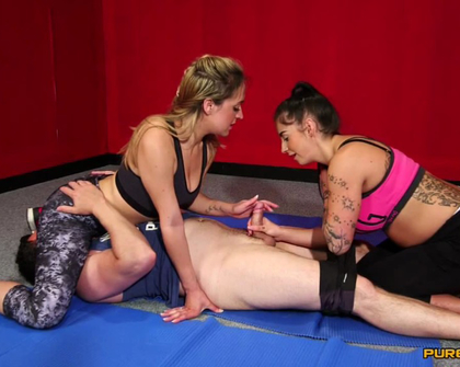 PureCFNM -  Kimmie Foxx And Samantha Page Mixed Wrestling